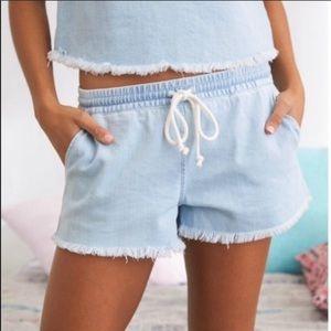 Aerie Drawstring Super Soft Denim Raw Hem Shorts